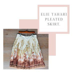 Elie Tahari Cotton Pleated Skirt | Cream & Tan